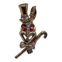 Vintage Rabbit Pin With Top Hat And Cane