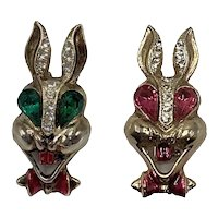 Two Vintage Rabbit Pins