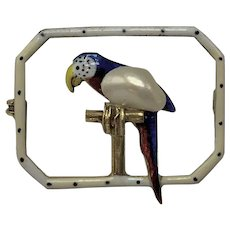 Rare 14k Gold, Pearl, and Enamel Miniature Parrot Pin