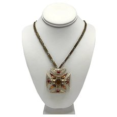1960s Florenza Necklace with Maltese Cross Pendant Necklace