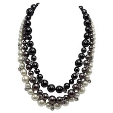 1980s Givenchy Three-Color Three-Tier Faux Pearl Necklace with Rhinestones
