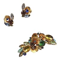 Poured Glass Gold-tone Green, Topaz, and Yellow Faceted Stones Brooch and Earrings Set
