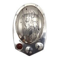 Don Quixote Sterling Shield Brooch with Carnelian Bead