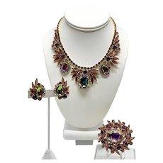D&E Juliana Watermelon Necklace, Pin, And Earrings Set