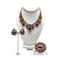 Vintage D&E Juliana Demi-Parure Necklace, Brooch, Earrings