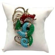 Rare Three-Color Lucite Hattie Carnegie Dragon Or Sea Monster Brooch