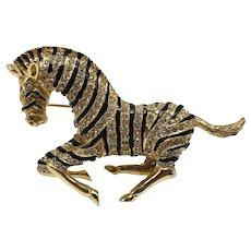Hattie Carnegie Running Zebra Brooch
