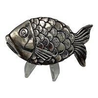 Stylized Sterling Silver Fish Brooch