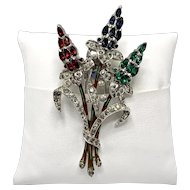 Crown Trifari Red, Blue And Green Floral Spray Fur or Dress Clip