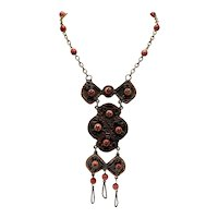 Oxidized Copper and Orange Bead Necklace With Pendant