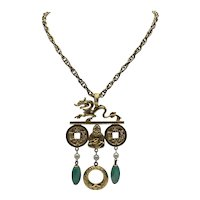 Kenneth Lane Asian Theme Pendant With Chain