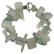 Vintage Sea Glass Look Bracelet with Toggle Clasp