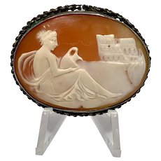 Reclining Nude Scenic Shell Cameo Set In Sterling  Silver