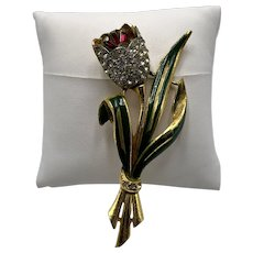Coro Trembler Tulip Brooch—Adolph Katz Patented 1939