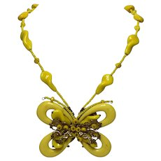 Vintage Miriam Haskell Bright Yellow Beaded Butterfly Necklace