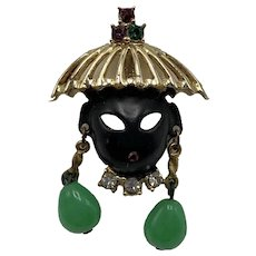 Asian Face Pin with Coolie Hat and Earrings