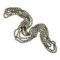 Vintage Heidi Daus 3-Strand Opera Length Smoke Gray Bead Necklace