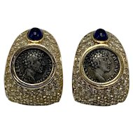 Ciner Faux Roman Coin Earrings With Blue Cabochons In Pavé Setting