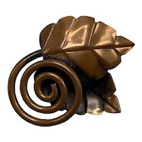 Rebajes Mid-Century Modern Coiled Leaf Copper Brooch