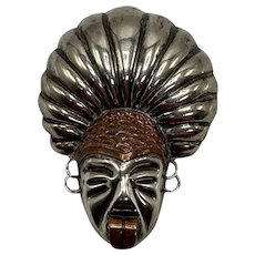 Sterling and Copper Face Brooch of Warrior Sticking Out His Tongue