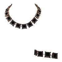 Mid-Century Renoir Copper and Black Square Link Necklace and Bracelet Set