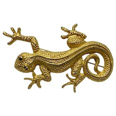Large Vintage Doreen Ryan Gold Tone Salamander Pin
