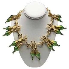 Rare Vintage Allison Mager 14-Leeks Necklace