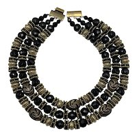 Three Strand Black and Gold-Look Ethnic Style Necklace