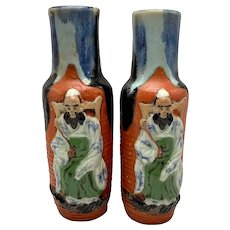 Pair of Antique Sumida Gawa Japanese Pottery Vases With Applied 3-D Figure