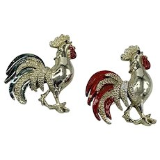 Pair Gold-tone Gerry's Rooster Pins