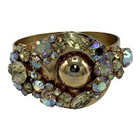 Wide 1970s Hinged Bracelet Showered With Aurora Borealis Stones