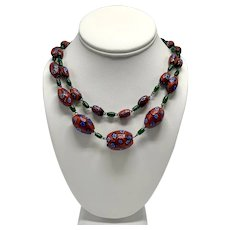 Bohemian Look Murano Millefiori Hand-Fused Beaded Necklace