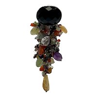 Sterling Silver Artisan Pendant With Over One-Hundred Semi-Precious Stones