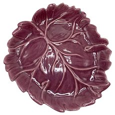 Vintage Mid Century Catalina Pottery Grape Color Leaf Dish With Aqua Glaze Back