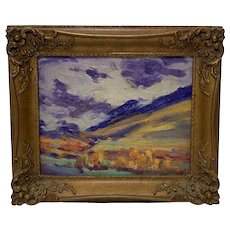 Louise Richards Farnsworth (1878-1969) Impressionistic Oil On Board Landscape