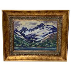 Louise Richards Farnsworth Oil On Board Fauvist Style Landscape of River and Mountains