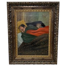 1958 Noel Rockmore Original Oil On Canvas of Father And Son Sleeping