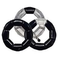 Set of Three Emporio Armani Black and Clear Plastic Stretch Link Bracelets