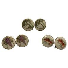 Three Pairs Japanese Screw-Back Satsuma Porcelain Earrings