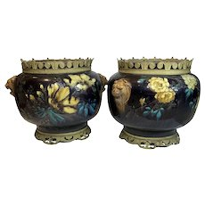 Pair Large Théodore Deck Floral Design Faience Jardinieres In Classical Metal Mount