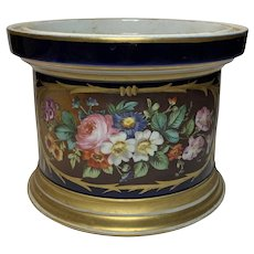 19th Century French Cache Pot With Floral Design on Cobalt Blue Background And Gold Gilt Trim