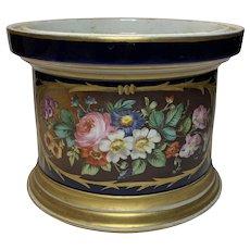 19th Century French Floral Design/Cobalt Blue Cache Pot