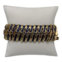 Trifari Gold-Look and Blue Enamel Flexible Link Bracelet