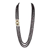 Vintage Nolan Miller Faux Garnet Necklace with Pave Rhinestone Clasp Glamour Collection