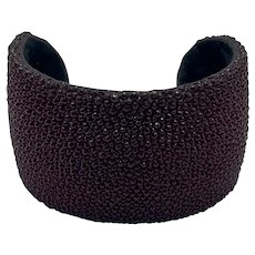 Leather Lined Burgundy Shagreen Cuff Bracelet