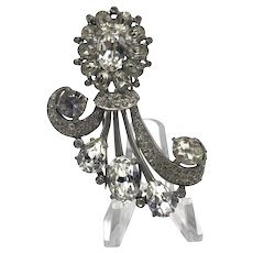 "1940s Eisenberg Original Sterling ""Starburst"" Fur Clip With Large Prong-Set Stones"