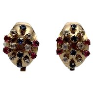 Vintage Clip-on 14K Gold Earrings Studded with Rubies, Sapphire and Clear Stones