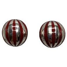 Tiffany Sterling Clip Earrings With Red Enamel Stripes