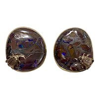 2002 Stephen Dweck Bronze-Mounted One-of-a-Kind Earrings With Signature Beetle