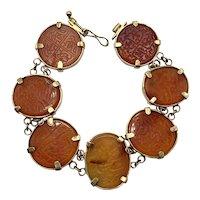 Rare Islamic Antique Mughal Carnelian Link Bracelet with Seven Islamic Seals